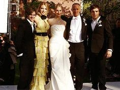 """the van der Woodsen's and Bass's became a family when Lily married Bart.....Eric, Serena, and Lily van der Woodsen with her new husband Bart Bass and son Chuck in the episode """"Much I Do aout Nothing""""."""