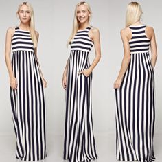 *Ships Next Week!!    Vertical stripe rayon spandex tank maxi dress. Hidden pocket.    Made in U.S.A   Shop this product here: http://spreesy.com/justlexboutique/631   Shop all of our products at http://spreesy.com/justlexboutique      Pinterest selling powered by Spreesy.com