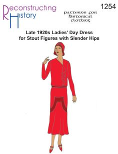 — Late Ladies' Day Dress for Stout Figures with Slender Hips - advance. 1920s Outfits, Vintage Outfits, Dress Sewing Patterns, Clothing Patterns, Sewing Ideas, Vintage Clothing Display, Plus Size Flapper Costume, Ladies Day Dresses, Cocktail Gowns