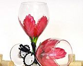 Red Poinsettia hand painted wine glass.  FREE personalization.  (1) Dishwasher safe glass painted wine glass