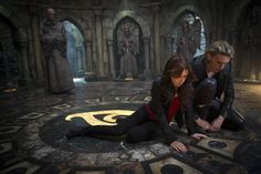 Still of Jamie Campbell Bower and Lily Collins in The Mortal Instruments: City of Bones