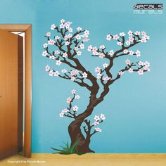 Ramey might like this cherry blossom tree decal since the blossoms are less pink & she's interested in a blue wall.