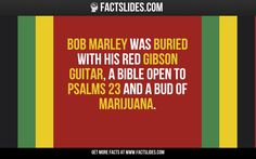 Bob Marley was buried with his red Gibson guitar, a Bible open to Psalms 23 and a bud of marijuana. Crazy Facts, Weird Facts, Fun Facts, Marijuana Facts, Medical Marijuana, The More You Know, Good To Know, Random Facts, Random Stuff