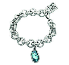 Chain bracelet with rounded, silver-plated metal links and a turquoise Swarovski pendant.