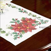 stamped+cross+stitch+table+runners+to+make | POINSETTIA ~ stamped for cross stitch ~ TABLE RUNNER ~ RARE