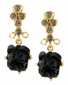 Y1RDX Oscar de la Renta Resin Rose Clip Earrings, Black