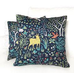 "Robert Allen Folkland Folk Art Animals Forest Tree Navy Blue Decorative Throw Pillow Cushion Cover Case Invisible Zipper 18"" 20"" 22"" 24"" by Aloriam on Etsy https://www.etsy.com/listing/224277748/robert-allen-folkland-folk-art-animals"