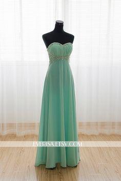 Mint Chiffon A-line Long Prom Dresses Evening Dresses by Everisa