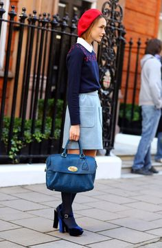 Parisian mulberry chic. I do love her beret and forties style platform shoes. Retro Inspired Streetstyle