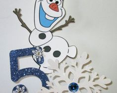 Frozen Centerpiece-Includes Olaf, a Large Glitter Snowflake and Birthday Number
