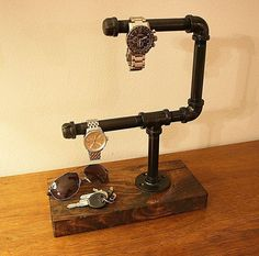 Industrial watch organizer watch holder watch by RustasticWood