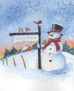 Welcome Friends Snowman