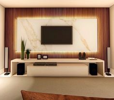 Arcylic TV Stand Off-White Design LivingroomDesign % Living Room Partition Design, Living Room Tv Unit Designs, Room Partition Designs, Bedroom False Ceiling Design, Tv Wall Design, Bedroom Bed Design, Home Room Design, Classy Living Room, Home Living Room