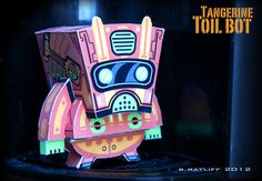 Chemical9: Tangerine Toil Bot - Robot paper toy with printable template