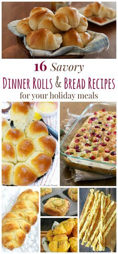 16 Savory Dinner Rolls and Bread Recipes for Your Holiday Meals - biscuits, breadsticks, rolls, and loaves, you'll find just the recipe for your Thanksgiving feast, Christmas dinner, or any holiday meal!