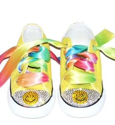 Childrens Bling Couture,  Swarovski Smiley Face  Rhinestone Converse Shoes  Sizes 0-8 years of age
