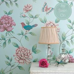 Fun wallpaper for a floral nursery. Isabelle Blue Wallpaper by Monsoon - Bird Wall Coverings by Graham Brown Wallpaper Pink And Blue, Brown Wallpaper, Modern Wallpaper, Blue Wallpapers, Designer Wallpaper, French Wallpaper, Beautiful Wallpaper, Pretty Wallpapers, Nursery Wallpaper