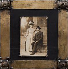 """ Grandparents ""  - collage on wood -  Artist: Daniel Loagăr"