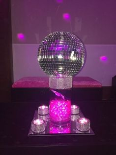 Mini mirror ball with butterfly and pink crystals for coffee table display at night club themed Bat mitzvah . Mini mirror ball with butterfly and pink crystals Disco Theme Parties, Disco Party Decorations, Disco Birthday Party, Music Themed Parties, Party Centerpieces, Party Themes, Party Ideas, 55th Birthday, Karaoke Party