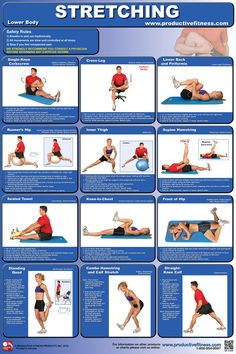 "$21.95 - Improve your lower-body flexibility using the 13 stretches featured on this poster for the hips, hamstrings, quadriceps, calves and lower back. All stretches are clearly explained with step-by-step instructions and descriptive photos. Laminated; 24"" x 36"". Please contact us if you would like paper version. #lower #body #stretching"