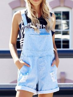 Fashion Rolled-Up Hole Design Denim Women's Overalls Dungarees Shorts, Blue Overalls, Overalls Women, Overalls Outfit, Tween Fashion, Daily Fashion, College Fashion, Modest Fashion, Overalls