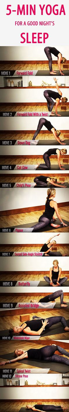 *5-minute YOGA routine for a GOOD NIGHT'S SLEEP. Sometimes you have to actively unwind to truly rest up, and a bit of mellow yoga could be your ticket to more restful sleep. This 5-minute sequences designed to relax your body and quiet your mind so you can drift off easily to the land of nod. Put on your PJs, press play, and get ready to chill out. #yoga #yogaposes #bedtimeyoga #bettersleep #beginneryoga