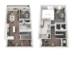 View stylish apartment floor plans, pricing, and availability at Verve Mountain View. Home Design Floor Plans, Home Building Design, Home Room Design, Sims House Plans, Modern House Plans, House Floor Plans, Pool House Designs, Sims House Design, Apartment Layout