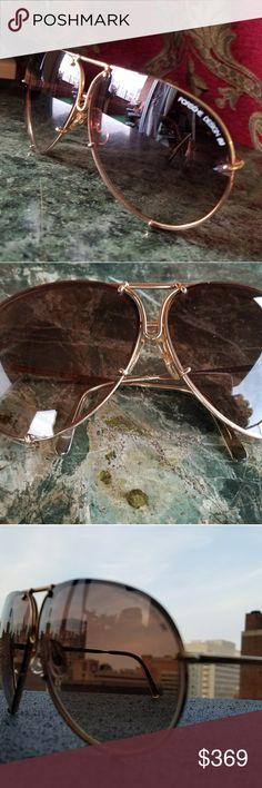 New Vintage Porsche Design Porches Design made in Austria 100% Authentic. Gold frame, the glass is brown Porsche Design Accessories Sunglasses