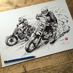 Season II. Flat track illustration / print by Adi Gilbert / 99seconds.com © 2015. Originally drawn for IV League Flat Track & Ascot. Available as a print now on 99seconds.com