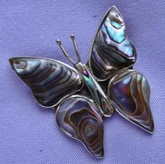 Vintage ALPACA Mexican Silver ABALONE Shell BUTTERFLY Brooch