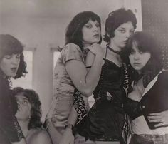 """BACKSTAGE PASS - 1976. Future HOLLY & THE ITALIANS! (L-R) Marina Del Ray, Ché Zuro, Holly Beth Vincent & Joanna """"Spock"""" Dean.. They were one of the earlier LA Punk bands.  They had a Farfisa organ & sang harmonies.. Jake Riviera (STIFF) met them at a party for The PRETTY THINGS at Jane Mansfield's house & really convinced them to start playing shows. Their first was w/DEVO & they played w/all the local bands like BAGS, EYES & X. They split by 1978 & Holly & Steve Young went to the  UK."""