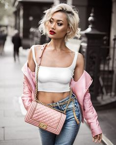 90s Barbie pink kinda vibes Micah Gianneli / denim pants outfit
