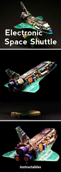 Electronic Space Shuttle: I made this project that link together two of my favourite fields : electronic and space. This space shuttle is made entirely from scratch. Metal Art Projects, Craft Projects, Instruções Origami, Easy Crafts To Sell, Robotics Projects, Electronics Projects, Electronics Components, Junk Art, Robot Art
