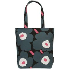 Marimekko Kuningatar Pieni Unikko Tote Bag - Black/Green/Pink (1,085 CNY) ❤ liked on Polyvore featuring bags, handbags, tote bags, multi, tote purses, print tote bags, green tote bag, pattern tote bag and pink tote bags