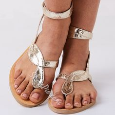 Shoespie Golden Snake Strappy Flat Sandals