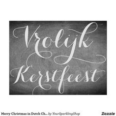 Vrolijk Kerstfeest, Merry #Christmas in #Dutch Chalkboard Typography #Card