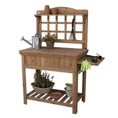 Amazon.com: Gardening Potting Bench with Inside Storage, Outside Shelving, Tool Trellis and Garden Gloves Bundle: Patio, Lawn & Garden