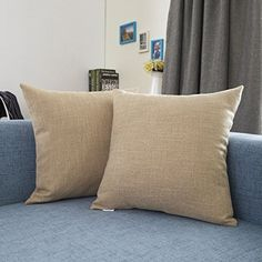 Would you like to add some color for your bed or living space? Now Your life will be changed.  KEVIN TEXTILE Soft Breathable Linen Cushion Cover  Material: 100% high quality polyester  2 Size: 18x18Inch /45x45cm 24x24Inch /61x61cm  5 textured linen shades: Light Grey; Light Linen; Natural Linen; Dark Grey; Light Blue  Closure: Smooth Strong Hidden Zipper  Features:  Made from heavy duty high quality faux linen Kevin Textiles cushion cover brings softness and smooth to your home hard wearing…