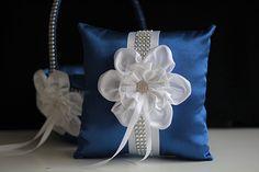 Amazon.com: Blue Ring Bearer Pillow \ Blue Flower Girl Basket \ Royal Blue Wedding Pillow Basket Set \ Blue White Basket \ Wedding Blue White Bearer: Handmade