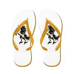 014f9ac07f564 Truly Teague Womens Unicorn Heraldry Engraving Style Orange Rubber Flip  Flops Sandals 11512 -- Find