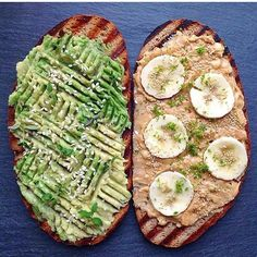 Peanut butter/banana and avocado/sesame seeds toast by @plantbasedbirdie Yummy! #peanutbutterlover #avocadotoast #sesameseeds #healthyliving #plantbased #cleaneating #veganfoodshare #glutenfree