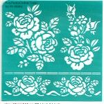 "Stencil ""Large Rose Flowers="" 6 inch/15 cm, self-adhesive, flexible, perfect for your polymer clay, fabric, wood, glass, card making projects"