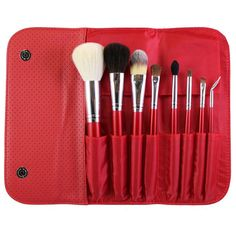 Morphe 8-Piece Candy Apple Red Brush Set ($14) ❤ liked on Polyvore featuring beauty products, makeup, makeup tools, makeup brushes, set of brushes, foundation makeup brush, powder brush, makeup powder brush and angled blush brush