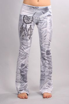 830 Grey Stripe Dream Feather Custom Yoga Pants on Etsy, $54.00
