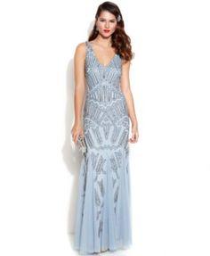 my new goal dress: Adrianna Papell Sleeveless Beaded Mermaid Gown
