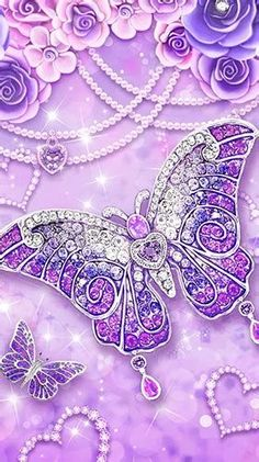 Blue Roses Wallpaper, Purple Butterfly Wallpaper, Fairy Wallpaper, Wallpaper Nature Flowers, Cute Galaxy Wallpaper, Diamond Wallpaper, Bling Wallpaper, Purple Wallpaper Iphone, Flower Phone Wallpaper