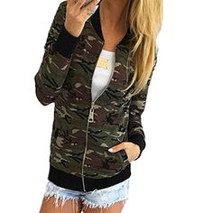 PHOTNO women casual jackets and blazers Camouflage Jacket Coat Street Jacket (L, Green)