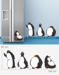 Pinguin Stickers. Kitchen Stickers, Wall Stickers, Claire, Board, Wall Clings, Wall Decals, Planks