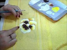 Pintura em Tecido - Amor Perfeito - How to paint pansy - YouTube