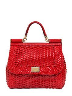 d6562ba232 Dolce  amp  Gabbana Red Medium Sicily Woven Faux Leather Bag  vegan Purses  And Handbags